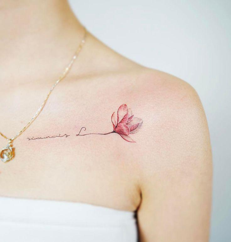 """5,884 curtidas, 32 comentários - Nando Tattoo (@nandotattooer) no Instagram: """"Magnolia/목련 . . #tattoo #tattooist #tattoodesign #flowertattoo #magnoliatattoo #magnolia…"""""""