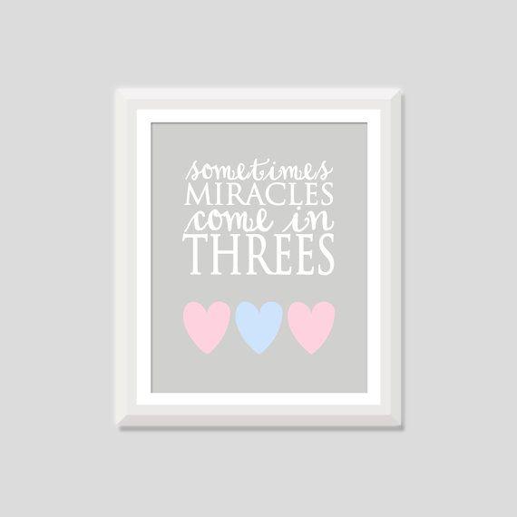 Triplet Nursery Art Sometimes Miracles Come by SweetPapelDesigns