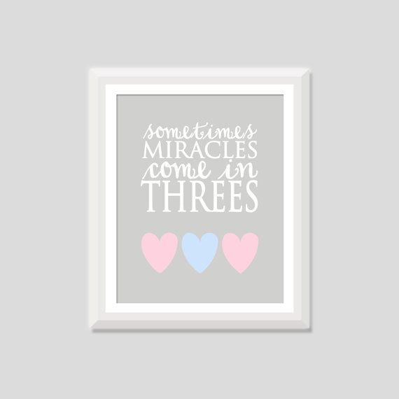 Triplet Nursery Art Sometimes Miracles Come by SweetPapelDesigns