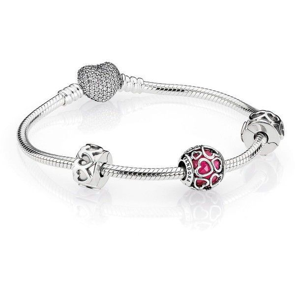 Pandora Open Hearts Bracelet Gift Set ($195) ❤ liked on Polyvore featuring jewelry, bracelets, white jewelry, pandora bangle, pink jewelry, pandora jewellery and pandora gift sets #jewelrypandora