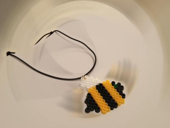 Hama bead owl or bee necklace by HappyDonkey on Etsy, €7.00