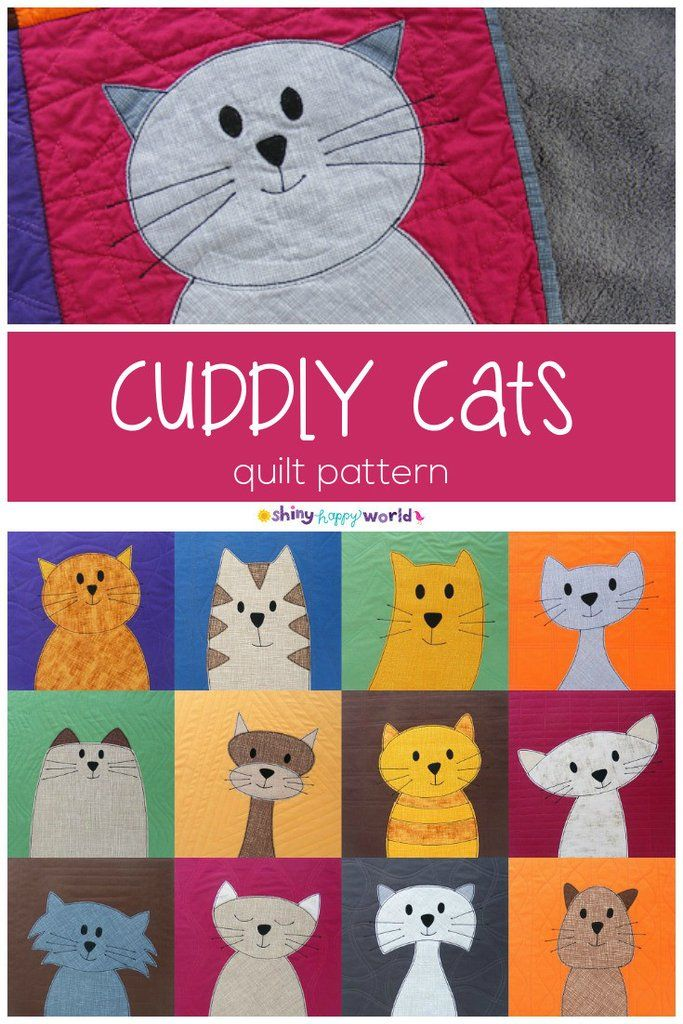 Cats Quilt Pattern – an easy applique pattern using Quilt As You Go and applique with fusible adhesive. Includes links to video tutorials teaching you everything you need to know! Shiny Happy World Pattern: https://shop.shinyhappyworld.com/products/cats-quilt-pattern-workshop