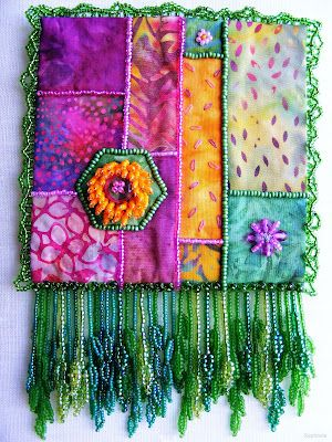Textile Explorations: Another Beaded Journal Page