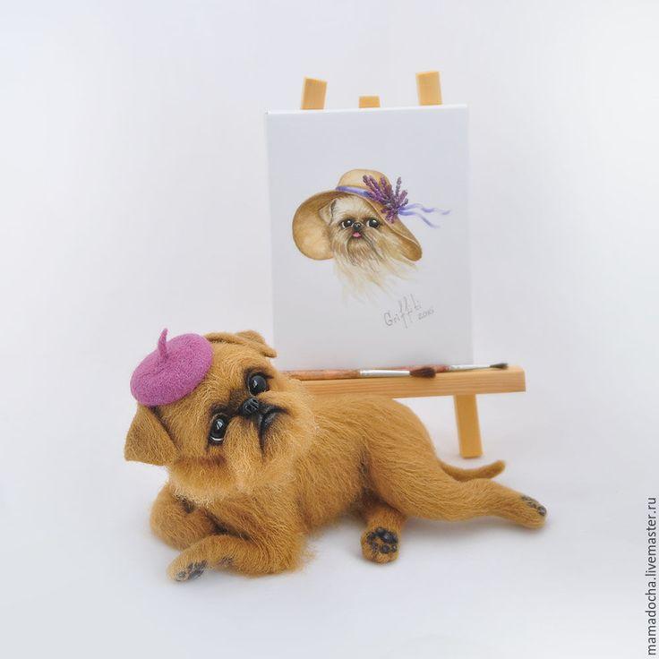 Купить Художник и муза - сиреневый, коричневый, сиреневый цвет, гриффон, брюссельский гриффон, собака