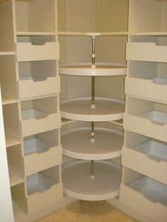 Lazy susan in the walk in closet dressing room, for shoes, purses etc.  Great idea.