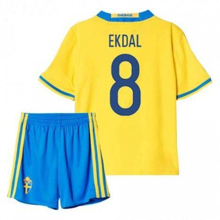 Sverige Trøje Børn 2016 #Ekdal 8 Hjemmebanesæt Kort ærmer.199,62KR.shirtshopservice@gmail.com
