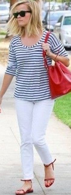 outfit post: white ankle jeans, striped shirt, brown wedge sandal | Outfit Posts