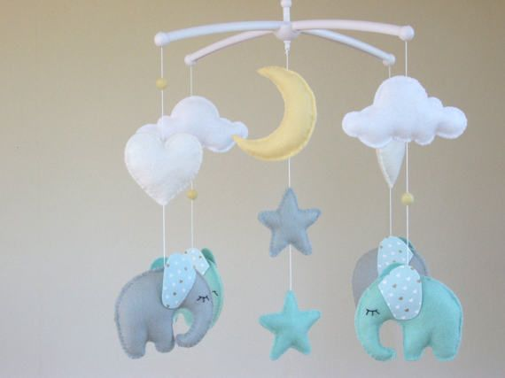 Elephant Baby Mobile Musical Baby Mobile Musical by ClooneyCrafts
