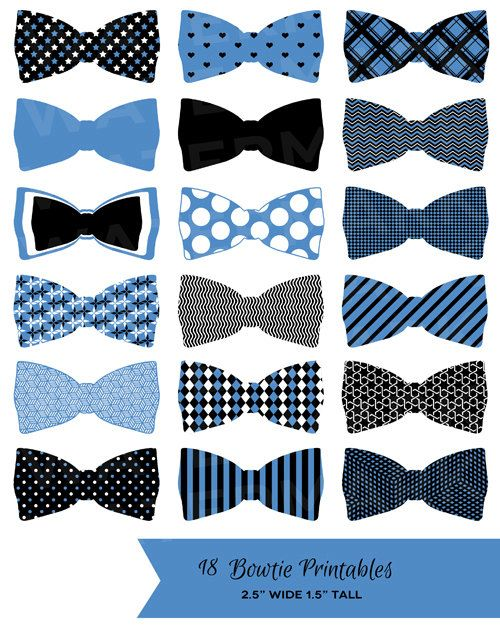 18 Black Blue and White Bowtie Printables: Tags / Labels / Cupcake Toppers / Decor / Clip Art - Hues Studio via Etsy