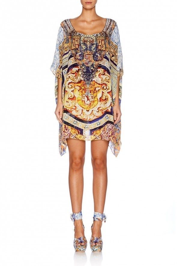 Camilla Franks Silk Swarovski Arms OF Contess Short Round Neck Kaftan | eBay