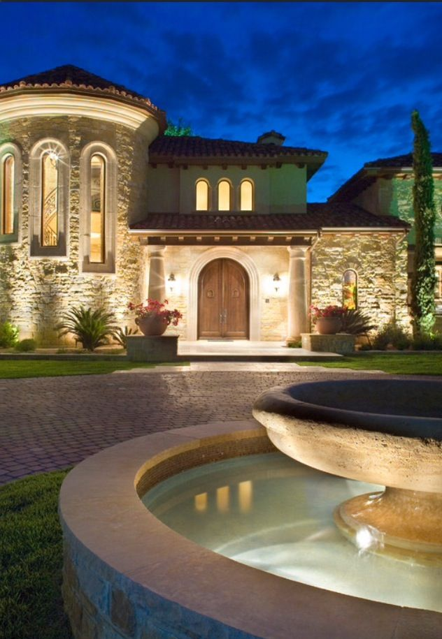 Great Outside Lighting Water Fountain And Rounded Windows Following The  Stairs Inside