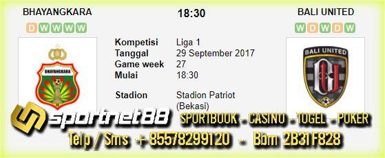 Prediksi Skor Bola Bhayangkara vs Bali United 29 Sep 2017 Liga 1 di Stadion Patriot (Bekasi) pada hari Jumat jam 18:30 live di TV One