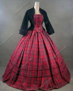 civil war victorian ball gowns | Civil War Victorian Tartan Velvet Ball Gown Day Dress Prom 160 S