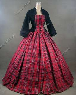 civil war victorian ball gowns | Civil War Victorian Tartan Velvet Ball Gown Day Dress Prom 160 S