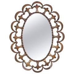 Hollywood Regency Античный овальное зеркало с Скульптурная кадр латуни