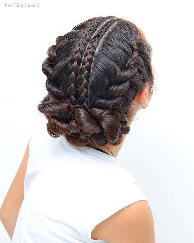 Ballet Updo With Cornrows And Rope Twist Braids For Our Twin With The Talented Kim Loolooshair We Chose This B Hair Styles Kids Hairstyles Braided Hairstyles