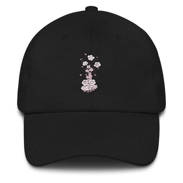 "' Cherry Blossoms"" Dad hat ($35) ❤ liked on Polyvore featuring accessories, hats, buckle hats, visor hats, sun visor, antique hats and 6 panel hat"