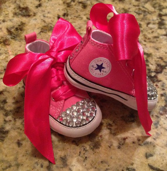 BLiNG BLiNG BABY Shoes So Cute Crystals Hot Pink Baby Shower Gift 6 12 18 Months Sparkly Ribbon Converse Size 3 on Etsy, $55.81 CAD