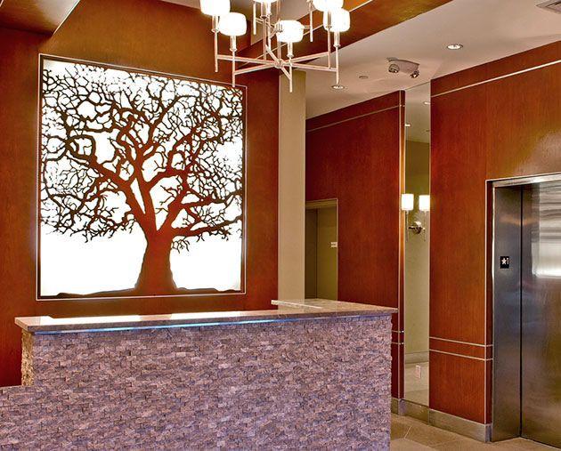 Custom Oak Tree Backlit Laser Cut Panel Laser Engraving