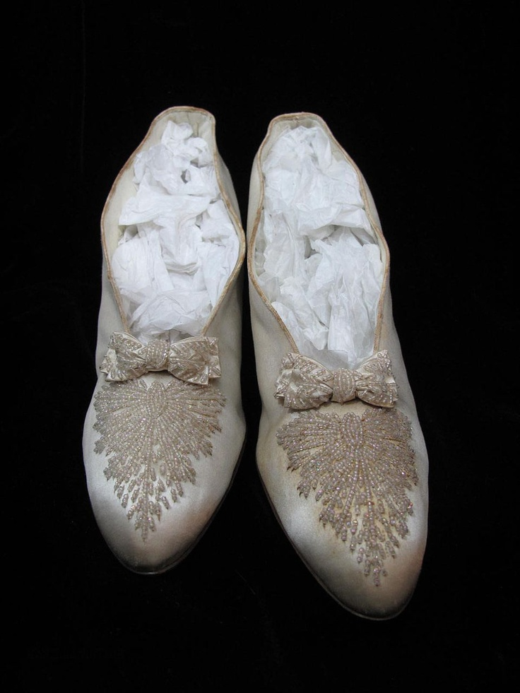 Antique beaded silk wedding shoes.