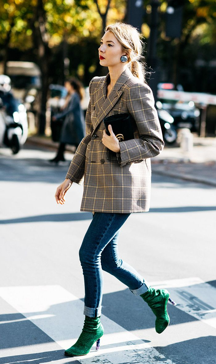 Obsessed! Plaid Jacket + Jeans + Booties (7 Standout Outfit Combinations Inspired by Street Style via @WhoWhatWear)