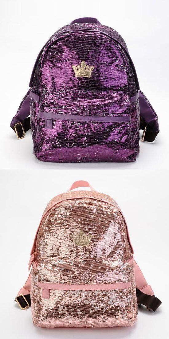 Cool Shine Crown Sequins Backpack for big sale! #crown #sequin #backpack #bag #shine #fashion