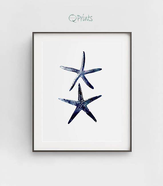 Stafish Art Print, Navy Blue Starfish, Two Starfish, Digital Ocean Art, DIY Wall Art, Nautical Décor, Bethroom Wall Décor, Large Wall Art