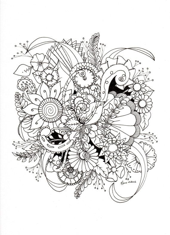 ZIA Flowers by ColourItByLynneMcGee on Etsy