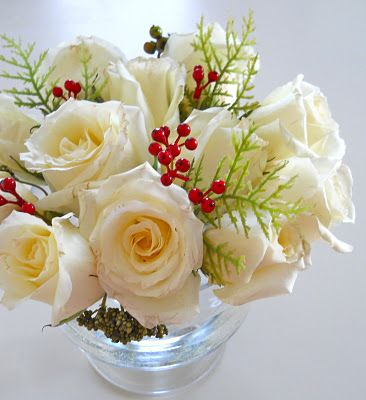 white rose bouquet with holly | Shopgirl: White Rose and Holly Christmas Centerpiece