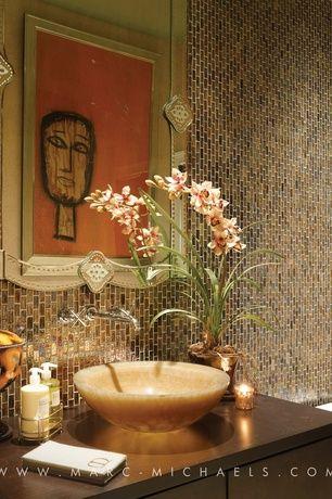 Contemporary Powder Room with Vessel sink, Daltile coastal keystones treasure island ck 90 mosiac tile, Powder room