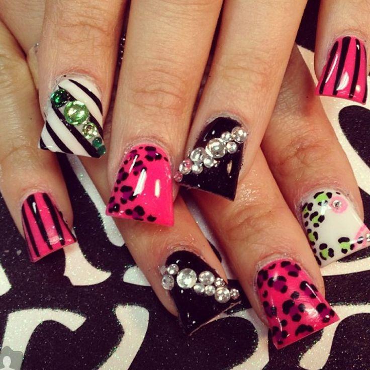 pink and black acrylic nail art