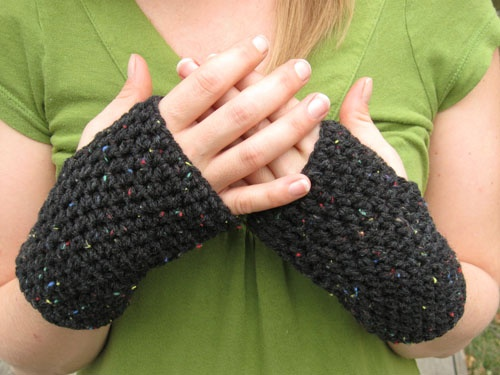 peasy fingerless gloves - super easy to make. I even figured out how to add thumbs to keep my hands warmer.