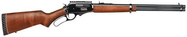 Lever action with side ejection, a hardwood stock, adjustable Buckhorn sights. Black rubber recoil pad with white line spacers. Cross bolt safety, lever actuated safety and Taurus Security System. Mod