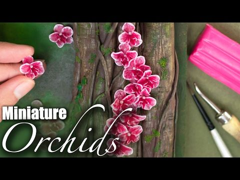 Miniature Orchids Sculpture // Easy Flower Polymer Clay Tutorial