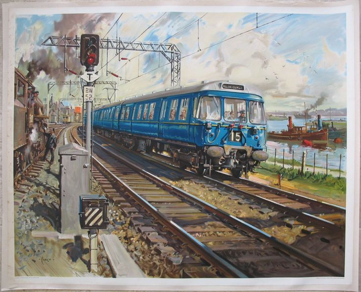 "Glasgow Electric - Blue Train - (Untitled Version), by Terence Cuneo. The new ""Blue Trains"" started work on Glasgow suburban services in 1960, replacing steam trains, and were a breath of fresh air at the time, with wide windows and curved front windows to look out past the driver. One is shown here by the River Clyde near Helensburgh, with a smokey dirty steam locomotive, and a slow moving tug on the river to the right. Original Vintage Railway Poster available on…"