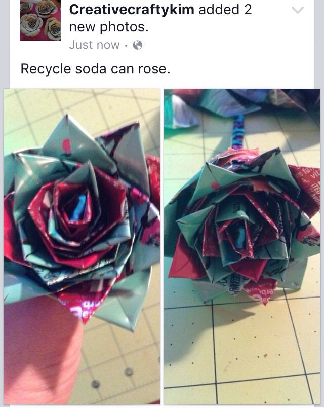I made recycle Arizona tea can and Coca Cola can rose. First time trying it.