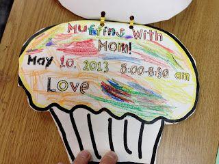 Muffins with mom mother 39 s day tea invite freebie preschool mother 39 s day pinterest mothers - Muffins fur kindergarten ...