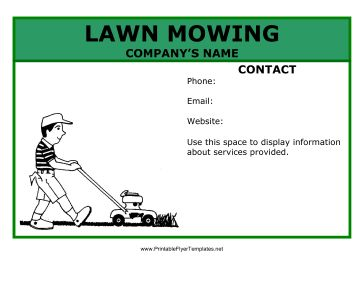 This lawn mowing flyer is just the thing for a young person trying to make a few bucks with a summer job. The flyer features a young boy mowing a lawn and a general green theme. You can include your email, phone, and website on the flyer itself and distribute it around your neighborhood! Free to download and print