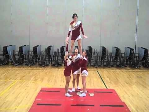 Los Banos High Tiger Cheer Stunts 2010-2011 WATCH LOTS: ladder. Pike toss. Toe touch toss. Backflip toss. Cartwheel entry. Twist up. Hop over teddy bear. Show-n-go. Basket toss. Front flip dismount. Extension w 1 handed bases. Front assisted shoulder stand. Full Lib. Tumbling.