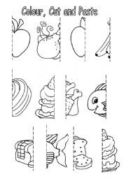 Food Worksheets For Preschool Colour Cut And Paste Food