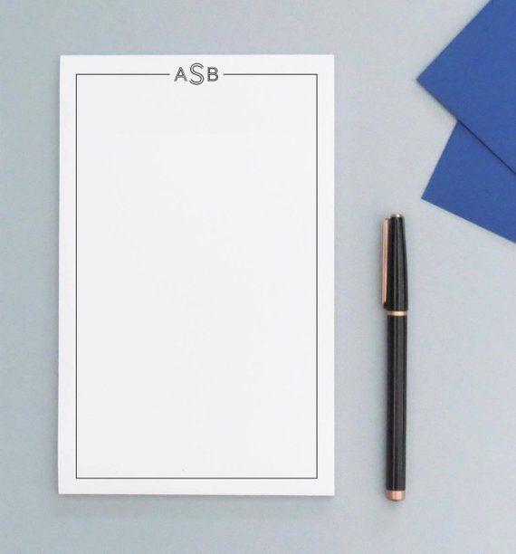 Monogrammed Note Pad Notepad Handmade Monogrammed Notepad Handmade notebook Initial Notepad Blank notepad
