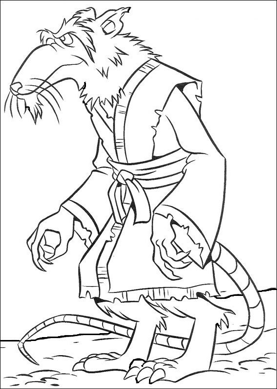 Ninja Turtles Splinter coloring picture for kids