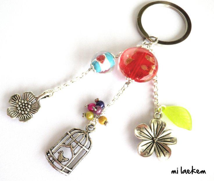 Porte-clés à Breloques sur Chaîne argentée avec Perles multicolores Thème nature & printemps : Porte clés par milaekem-bijoux