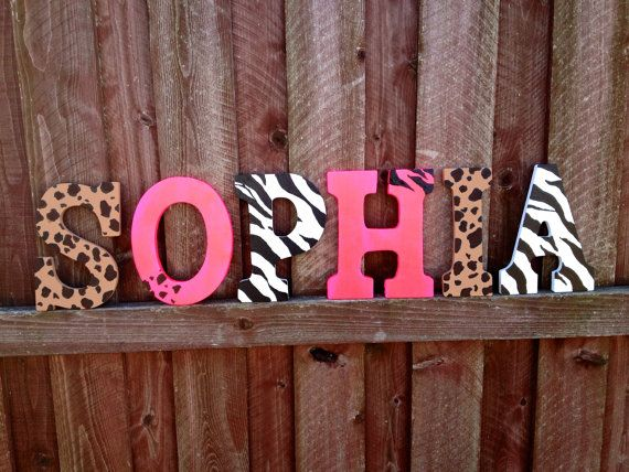 "9"" Cheetah, Hot pink, Zebra Wall hanging name letters"