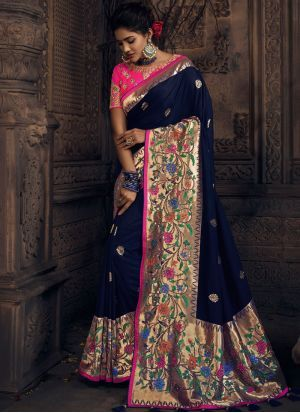 d175d5e0908d46 Art Silk Embroidered Blue Traditional Designer Saree  silk  silksaree  saree   usa  uk  malaysia  worldwideshipping  germany
