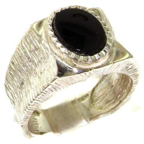 Gents Solid 925 Sterling Silver Natural Onyx Mens Signet Ring, Made in England - Size Z+1 - Finger Sizes M to Z+2 Available