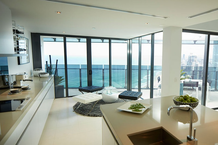 Enjoy panoramic ocean views from the kitchen #Soul #OceanView #Kitchen #BeachHouse #Beachfront