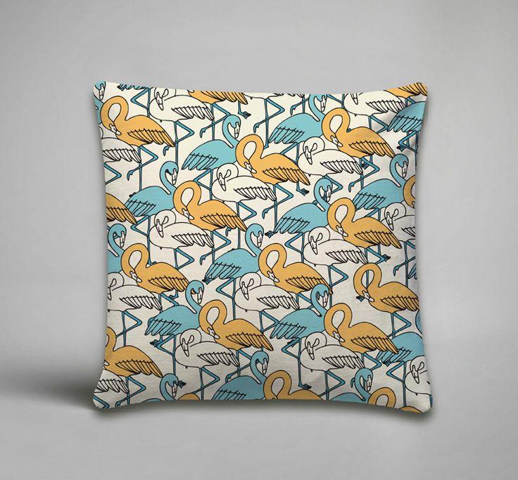 Yellow Flamingo Scatter Cushion