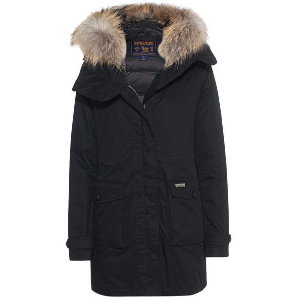 WOOLRICH Scarlett Eskimo Black // Parka with fur trim (1'015 CHF) ❤ liked on Polyvore featuring outerwear, coats, down jacket, down parka jacket, zipper coat, down feather jacket and fur trim hooded coat