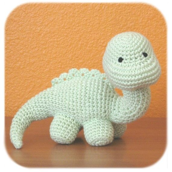 dinosaur crochet amigurumi plush in mint green cotton yarn stuffed ...